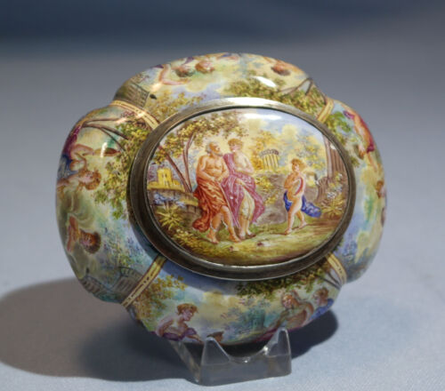 Hermann Ratzersdorfer Austrian Painted Enamel Sterling Silver Box Circa 1870s