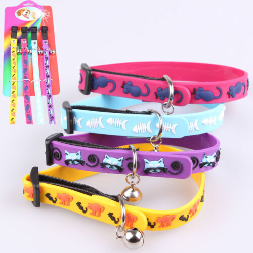 Pet Dog Cat Soft Silica Gel Cartoon Collar Charm Small bells Adjustable Necklace