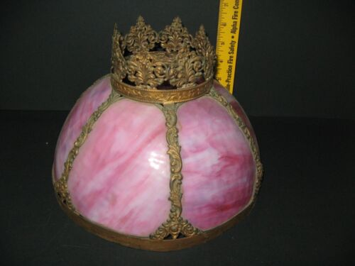 Antique Stunning Ornate Victorian Stained Glass Pink Lamp Shade