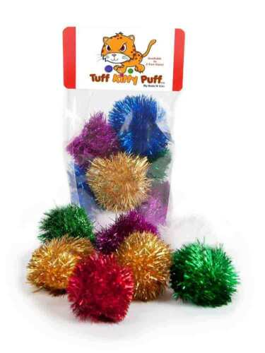 Sparkle Ball Tuff Kitty Puff® Cat Toy - 6 Pak