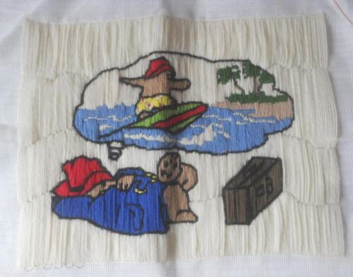 VINTAGE COMPLTD LONG STITCH TAPESTRY PADDINGTON BEAR DREAMING OF HOLIDAY UPCYCLE