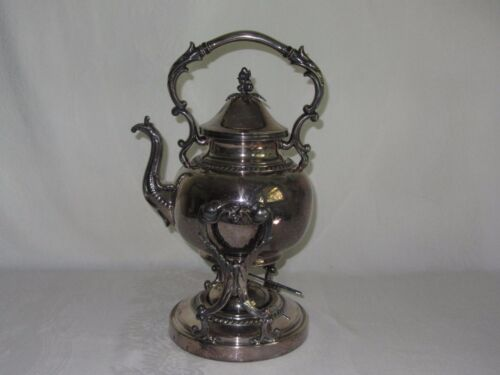 Vintage Silverplate Teapot Tilting Tipping Cradle Stand Hinged Lid Marked