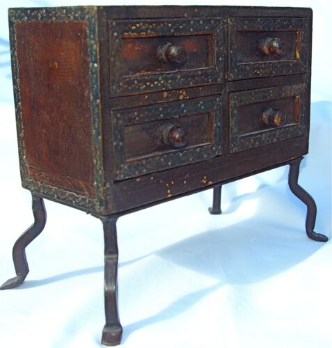 Antique/Vintage Wood & Iron Primitive Jewelry Spices Sewing Box Cabinet 4 Drawer
