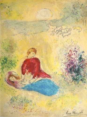 """Marc Chagall """"Daphnis and Chloe..The Little Swallow"""" Hand Signed Lithograph 1961"""