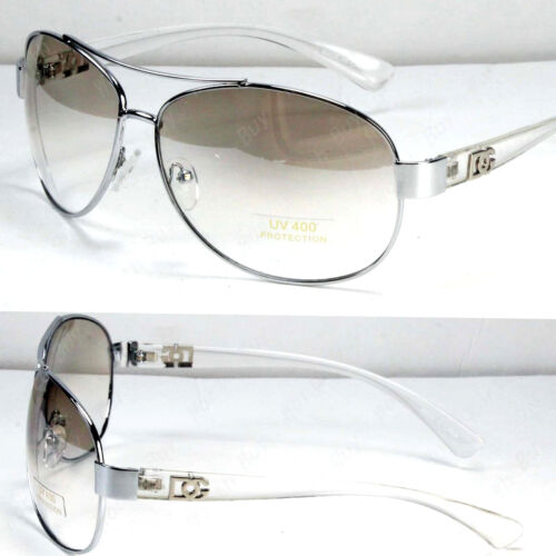 New DG Eyewear Mens Womens Fashion Designer Pilot Sunglasses Shades Clear White