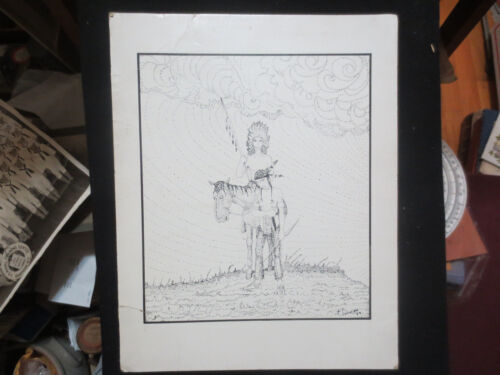 """POINTILLISM- PEN AND INK """" INDIAN CHEIF ON PONY """" ORIGINAL ART ON CARDBOARD 1939"""