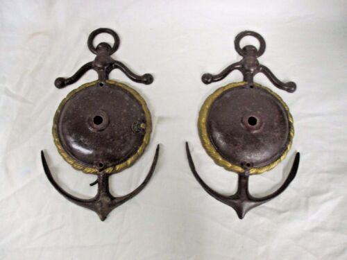 PAIR OF ANTIQUE WALL SCONCE LIGHTS WITH ANCHOR Nautical Boat Theme