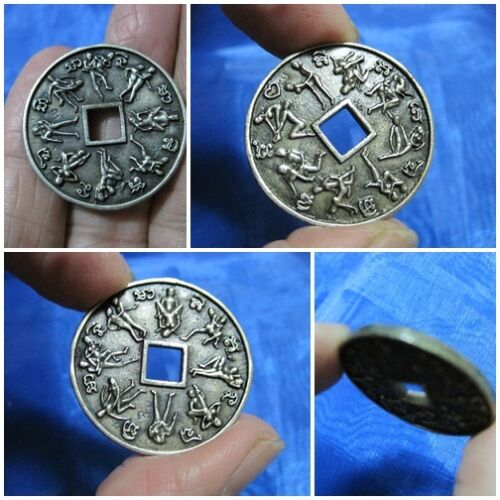 Silver Coin Kama Sutra Thai Amulet Token Surprise 16 Lovers & Sex F16-A3