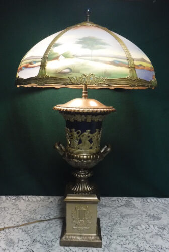 Antique Reverse Painted Trophy Greek Goddess Dancing Ladies Table Light Lamp