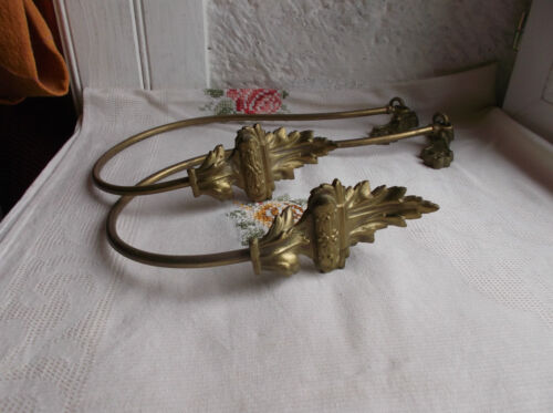 French antique 19th century curtain tiebacks a pair ornately bronze patina