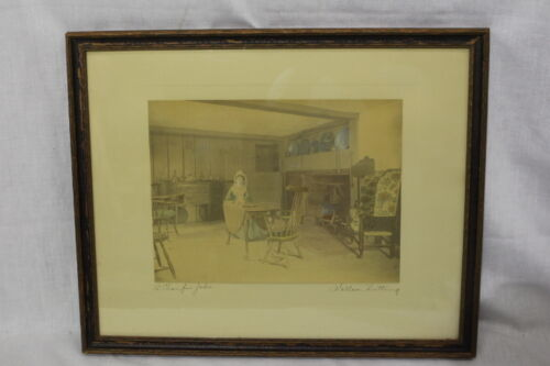 Vintage WALLACE NUTTING Hand Colored Lithograph Print A CHAIR FOR JOHN, 1913