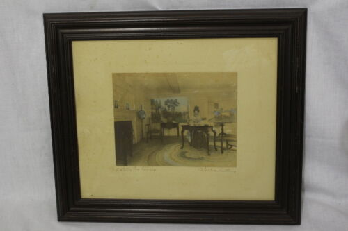 Vintage WALLACE NUTTING Hand Colored Lithograph Print A STATELY TEA POURING 1919