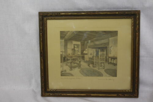 Vintage WALLACE NUTTING Hand Colored Lithograph Print AN INTERRUPTED LETTER 1916