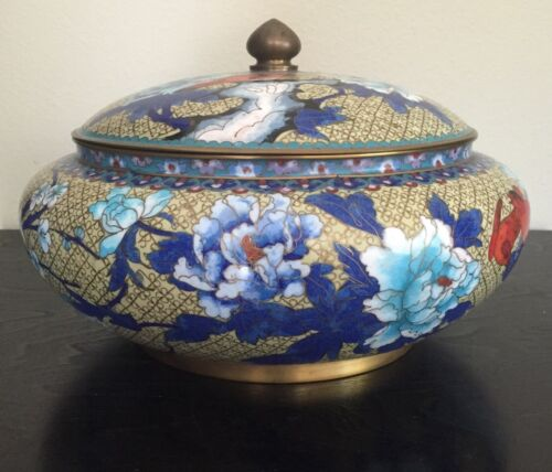 Antique Chinese Cloisonné Enamel Red Bird Flowers Lidded Bowl Jar Box Large 13""