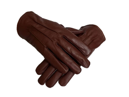 Men's genuine Oxblood leather Unlined driving gloves with snaps