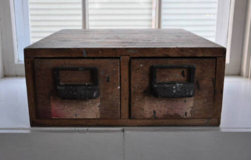 Antique Wooden 2 Drawer Industrial File Cabinet