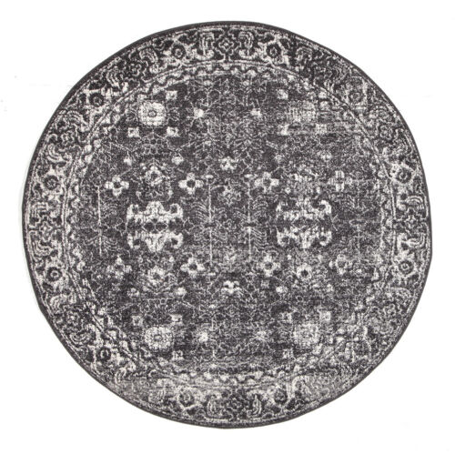 ASH GREY FLORAL MEDALLION ANTIQUE TRADITIONAL ROUND RUG 150x150cm **NEW**