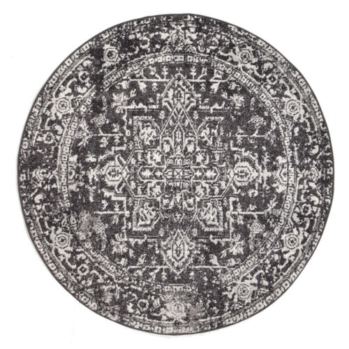 ASH GREY FLORAL MEDALLION ANTIQUE TRADITIONAL ROUND RUG 200x200cm **NEW**