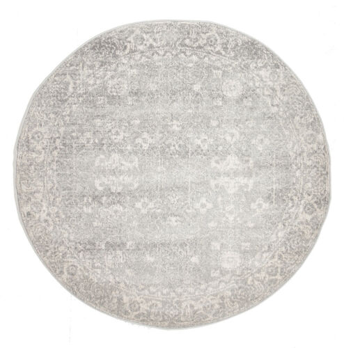 GREY FLORAL MEDALLION ANTIQUE TRADITIONAL ROUND RUG 240x240cm **NEW**