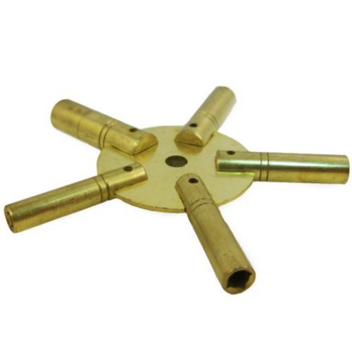 New Brass Universal Clock Key for Winding Clocks 5 Prong ODD Numbers