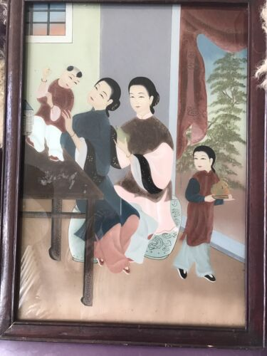 """Vintage Chinese Reverse Glass Painting 20th Century. 15 1/2"""" W X 22""""H"""