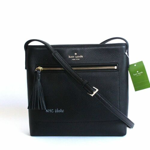 New Kate Spade New York Chester Street Dessi Pebbled Leather Crossbody Black NWT