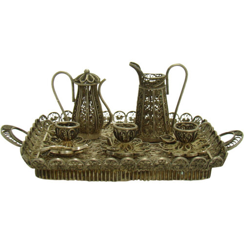 Miniature Silver Tea Set and Tray - 1910