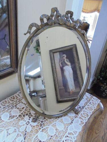Antique French Ribbon And Bow Bronze Oval Bevel Glass Easel Back Mirror