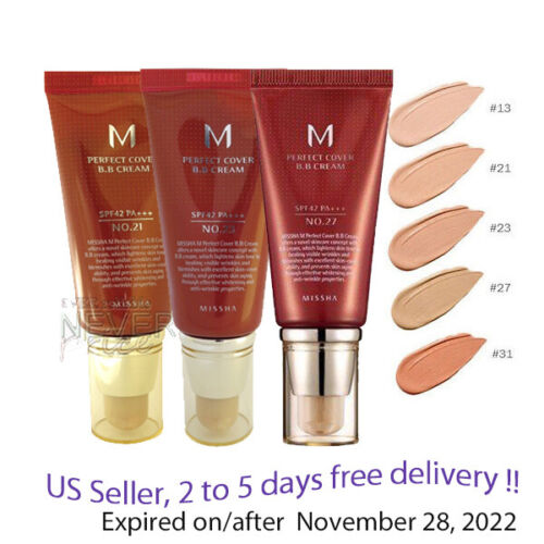 Missha M Perfect Cover BB Cream SPF42 PA+++, NO 13,21,23,27,31  50g +Sample!!