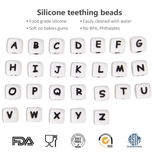 26Pcs Alphabet Silicone Beads Teething Beads DIY Baby Teether Necklace Making