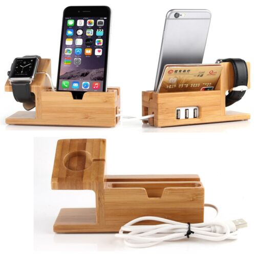 For Apple Watch iWatch iPhone Bamboo Charging Dock Station Charger Holder Stand