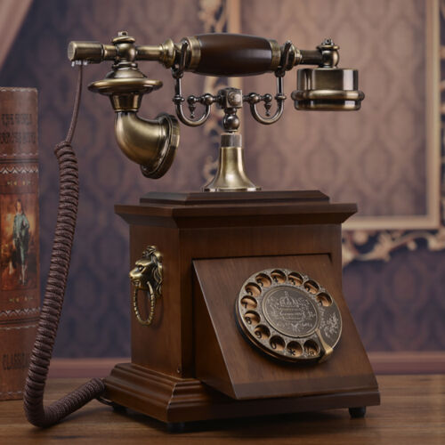Antique Phone with classic Rotating dial made from Solid wood