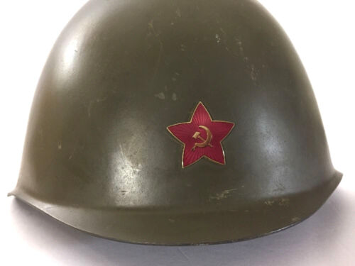 1950s Russia Czech Army Helmet with Star Hammer Sickle Emblem Hats & Helmets - 165607