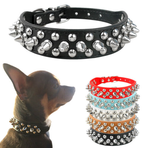 Pu Leather Dog Collars Adjustable Spiked Studded Rivets Puppy Small Pet Collar