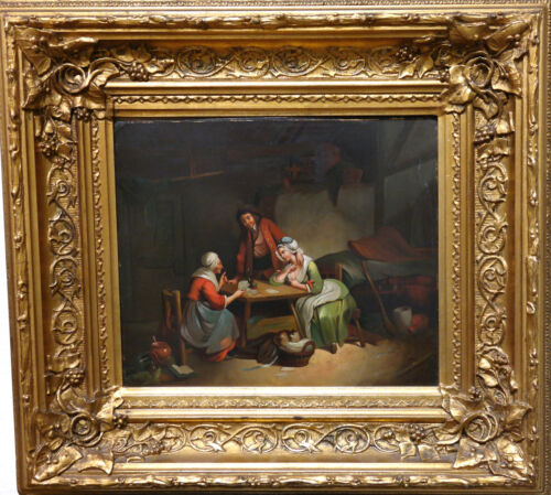 Dutch School Continental Europe Painting on Copper Board Gilt Wood Frame C.1880s