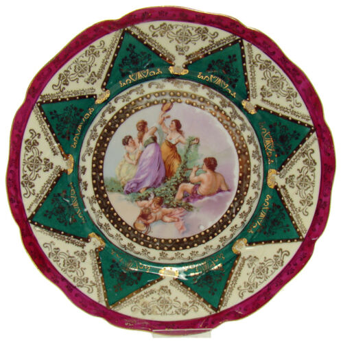 German Hand-Painted Porcelain Cabinet Plate with Jubilant Musical Scene - 1910