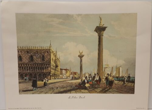 Venetian Scene No. One The Doge's Palace Vintage Lithograph Etching Art Print