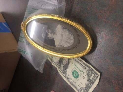 Brass Backed Oval Frame with vintage photo ca 1910