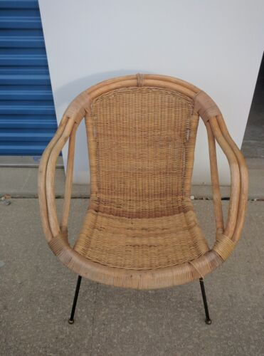 calif asia rattan chair mid century modern Wicker LOCAL PICKUP ONLY
