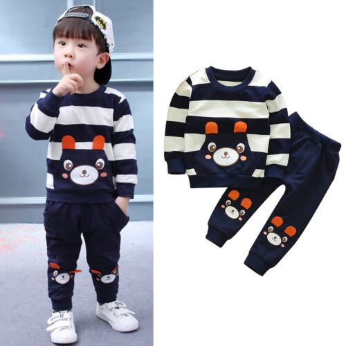 2PCS Toddler Kids Baby Boy Girl Clothes Hoodie Coat Shirt Tops+Pants Outfits Set