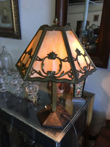 Antique Bradley And Hubbard Six Panel Slag Glass Table Lamp