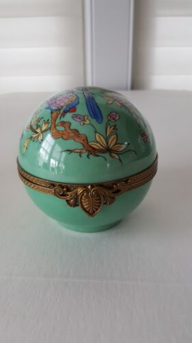 CARON FRANCE, ENAMEL ROUND PERFUME CASKET- PERFUME BOTTLES WITH FUNNEL