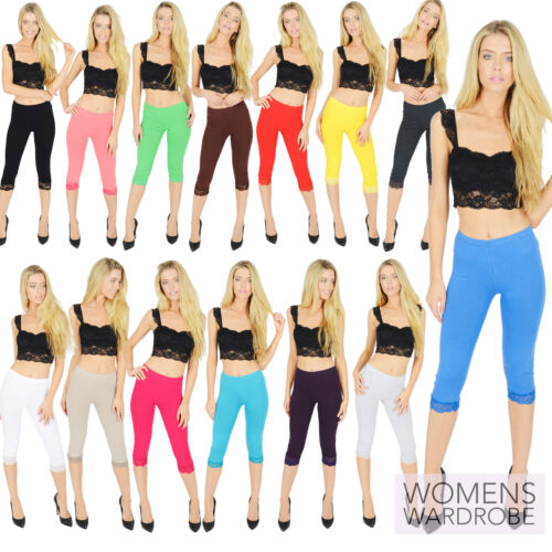 Womens Cropped Cotton Leggings With Lace 3/4 Length V1 <br/> All Colours & Sizes