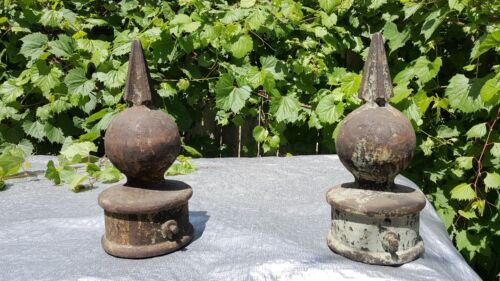 """ANTIQUE IRON FINIAL ~ Large Round Fence Post Topper Cap 4-5/8"""" bore 14""""hi 5""""ball"""