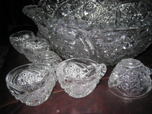 American Victorian Cut Crystal Large Punch Bowl with 8 cups 16 1/4""