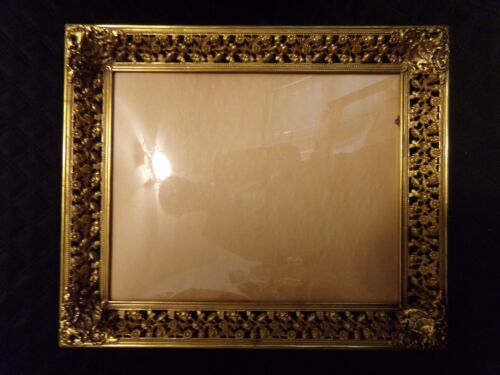 LARGE Antique Gold Gilt Photo Picture Frame Convex Glass Denmark
