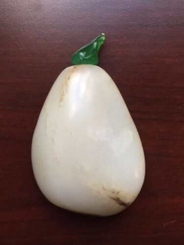 Antique Chinese Qing Dynasty Irregular Shape White Jade Snuff Bottle w Glass Top