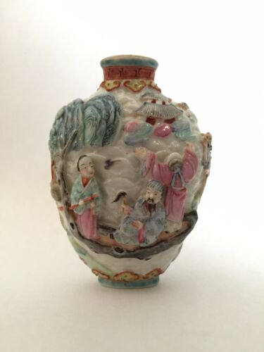 "Antique Chinese Qing Dynasty Famille Rose Molded ""Eight Immortals"" Snuff Bottle"