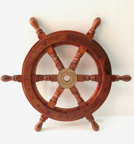 "Superior Sheesham Wood and Brass Ship Wheel 16"" Wall Hanging Home Decor"