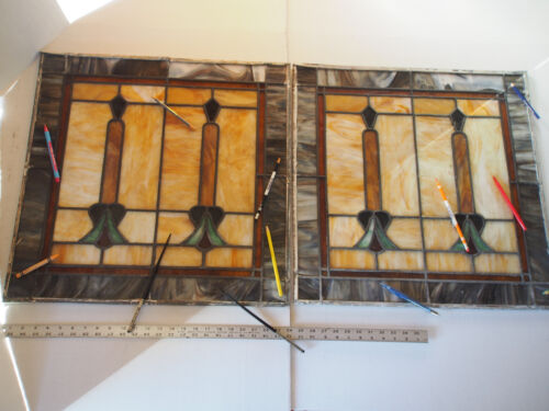 PAIR (2) Antique Art Deco Orange Tulip Stained Slag Glass Lead Window Panels 24""